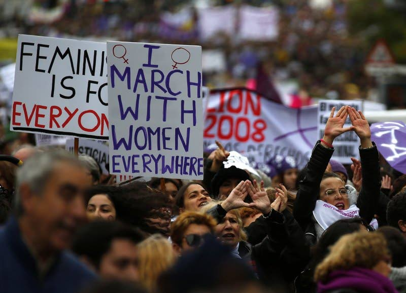 People take part during a protest against sexism and gender violence in Madrid, Spain,November 25. (AP Photo)