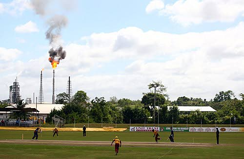 A cricket match in progress at Guaracara Park.