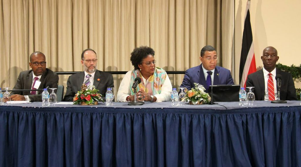 CARIBBEAN HEADS: (from left to right) Caricom assistant secretary general Salas Hamilton, Caricom secretary general Irwin La Rocque, Barbados PM Mia Mottley, Jamaica PM Andrew Holness and TT PM Dr Keith Rowley at Tuesday's press conference.