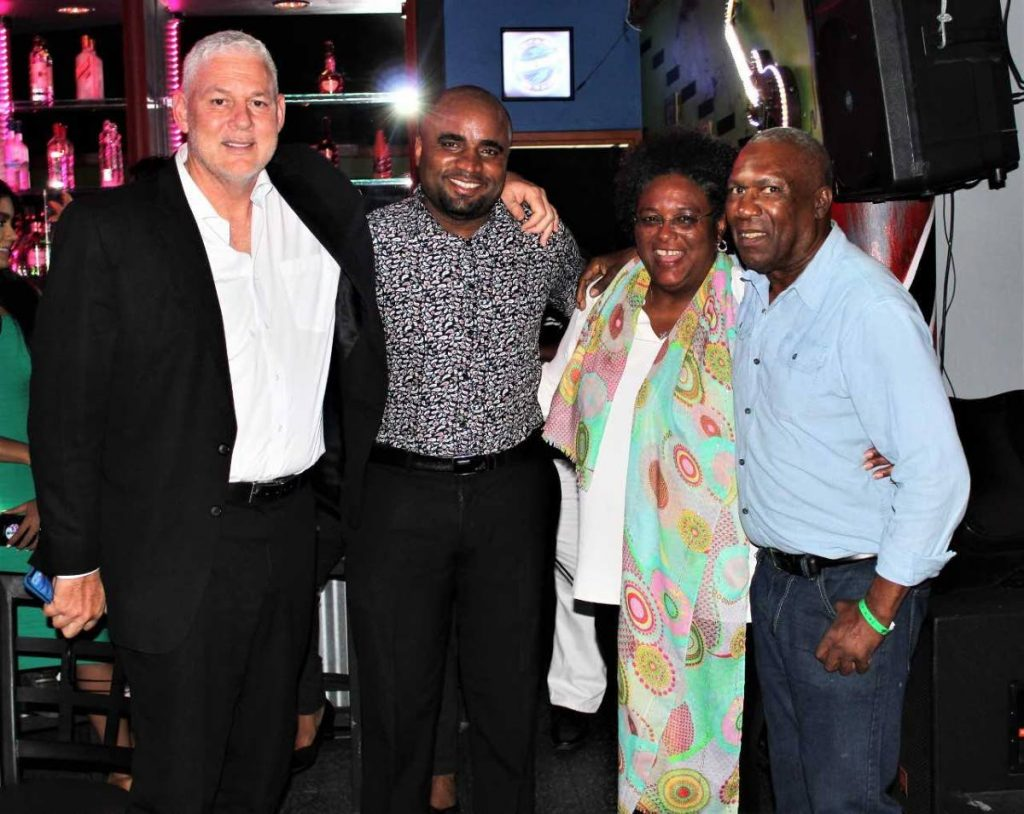 "St Lucia Prime Minister Allen Chastanet, Mikhail Salcedo, Barbados PM Mia Mottley and Len ""Boogsie"" Sharpe."