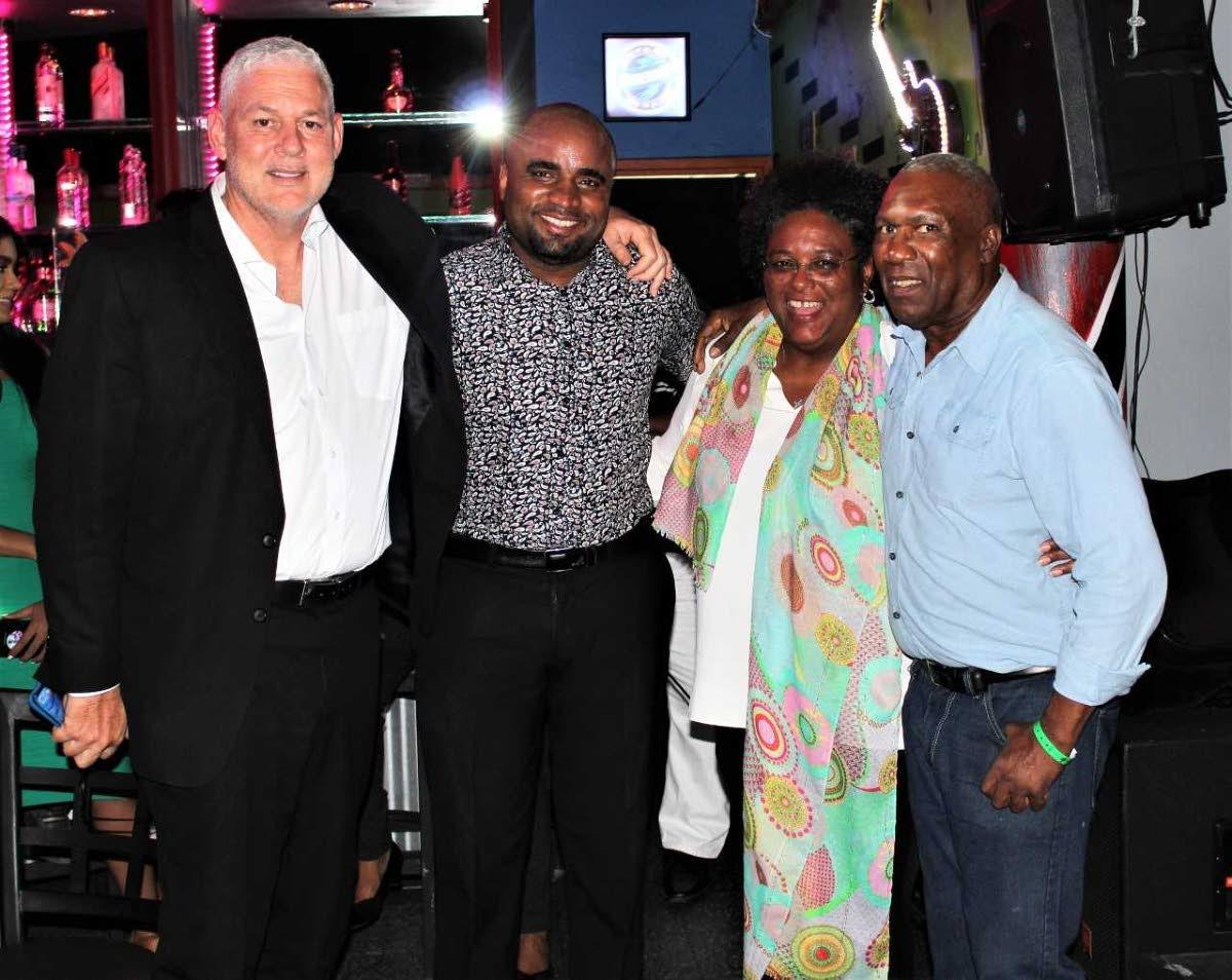 "St Lucia Prime Minister Allen Chastanet, Mikhail Salcedo, Barbados PM Mia Mottley and Len ""Boogsie"" Sharpe."