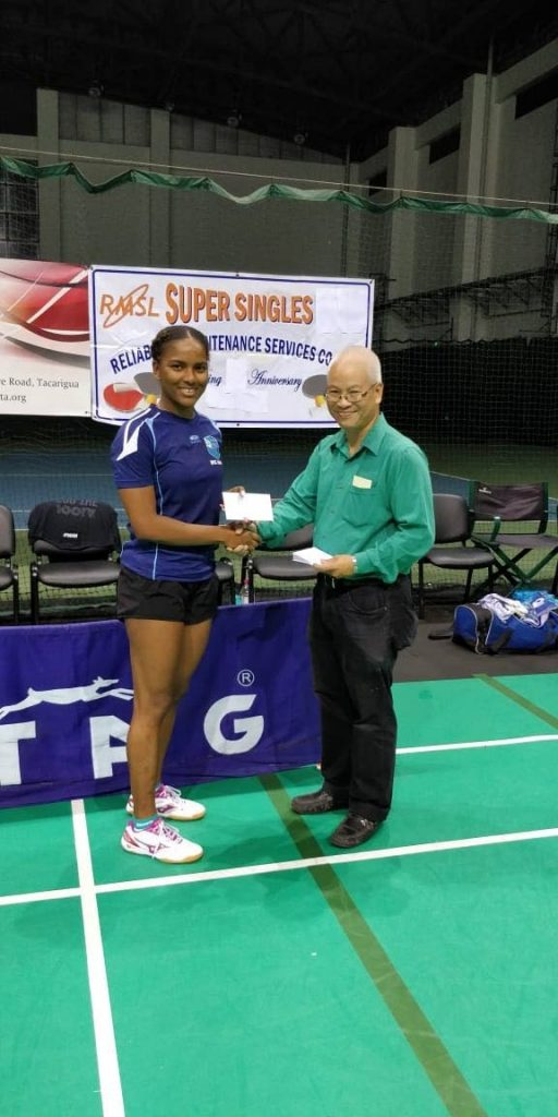 RMSL Super Singles 2018 Women's winner Brittany Joseph accepting her first prize award