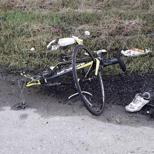 The mangled bike of Madonna Wheelers rider Aaron Thomas who was killed in a hit-and-run in Wallerfield yesterday.
