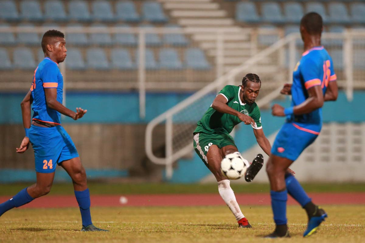 W Connection's Marcus Joseph shoots at goal against North East Stars in the final match of the TT Pro League season at the Ato Boldon Stadium, Couva, Friday.
