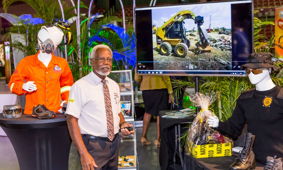 Anthony Alsop shows of equipment at the NATCO (National Shoe and Occupation Solutions) booth at the Tobago Day Expo last Thursday at the Shaw Park Cultural Complex.