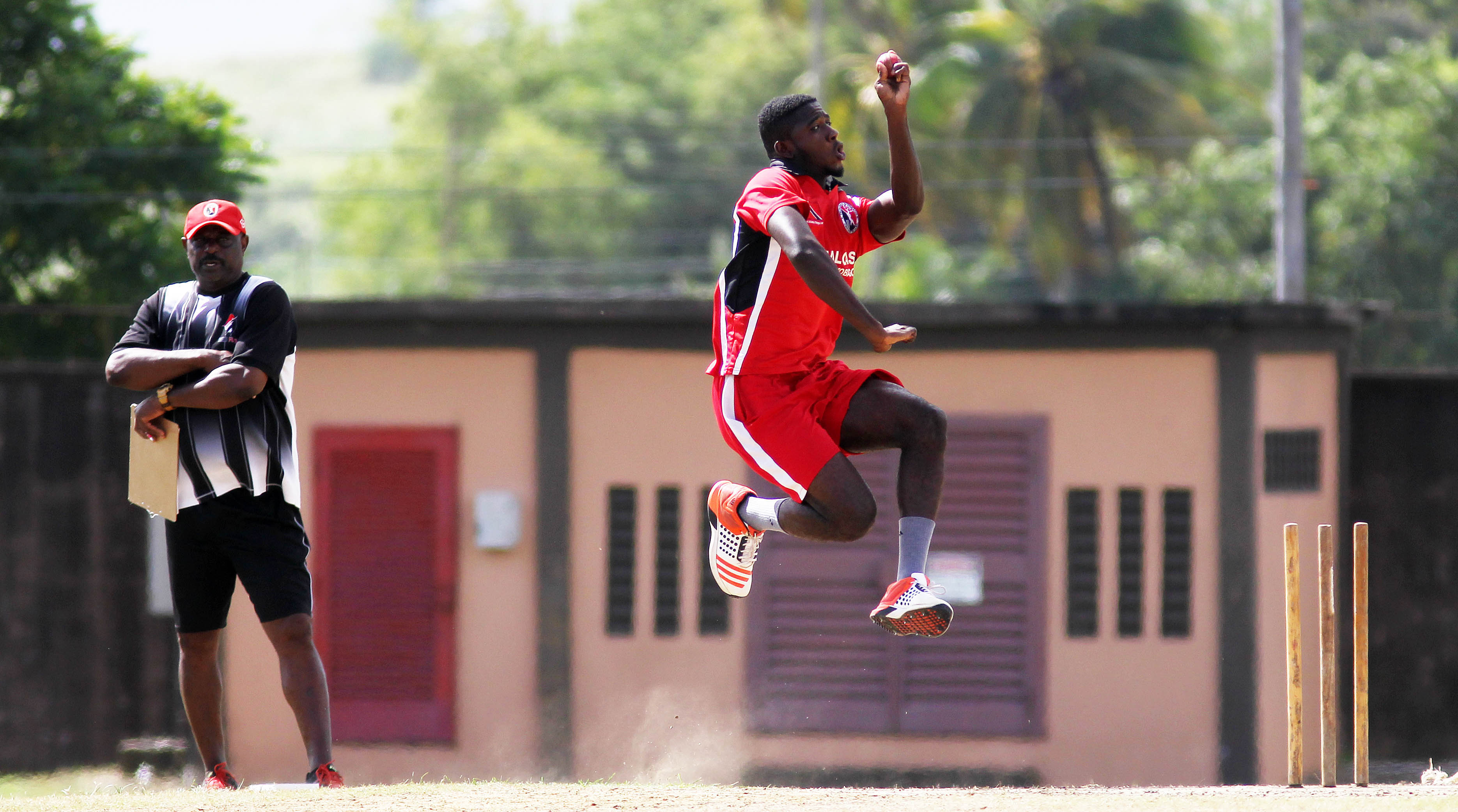 Trinidad and Tobago Red Force cricketers practicing at the National cricket centre, Balmain Couva.   Photo: Lincoln Holder
