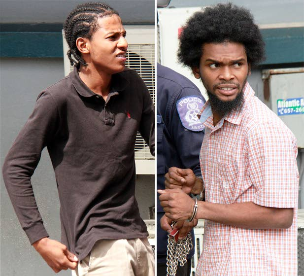 JOINTLY CHARGED: This composite photo shows Justin Cardinez, left, and Shakeel Cummings at the Siparia Magistrates Court yesterday where they and mother of twins Samantha Kalloo appeared in court on armed robbery and shooting charges. PHOTOS BY ANIL RAMPERSAD