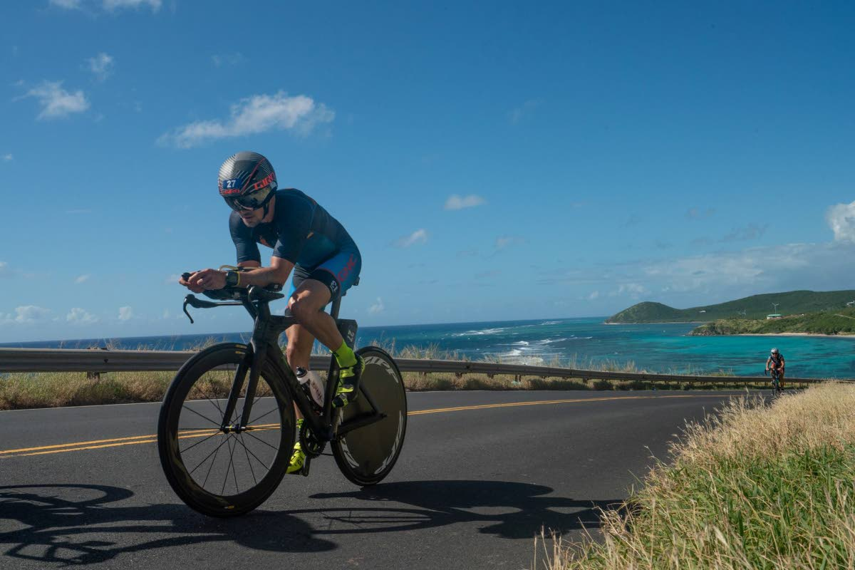 Jason Costelloe at Beauty and the Beast Long Course Caribbean Age Group Triathlon Championship in St Croix recently. PHOTO BY Sean McGuire of St Croix InMotion. Virgin Islands Triathlon