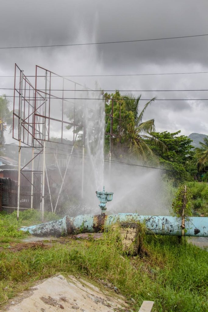 File photo of a WASA main spouting gallons of water near Beetham Gardens off the Beetham Highway in December 2018.   PHOTO BY JEFF MAYERS