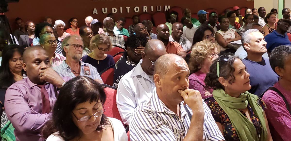 Participants at a forum to discuss the Sandals MOU at the Scarborough library on December 13.