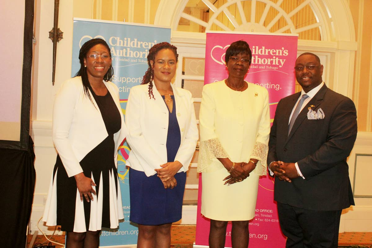Ayanna Webster-Roy, second from left, MP for Tobago East, Minister of State in the Office of the Prime Minister stands Dr Agatha Carrington - Health Secretary, third from left, Hanif Benjamin, Chairman of the Children's Authority and  Safiya Noel, Director of Children's Authority at a press conference for  the commissioning a Children's Authority Child Support Centre in Tobago on December 14 at the Magdalena Grand Beach and Golf Resort in Lowlands.