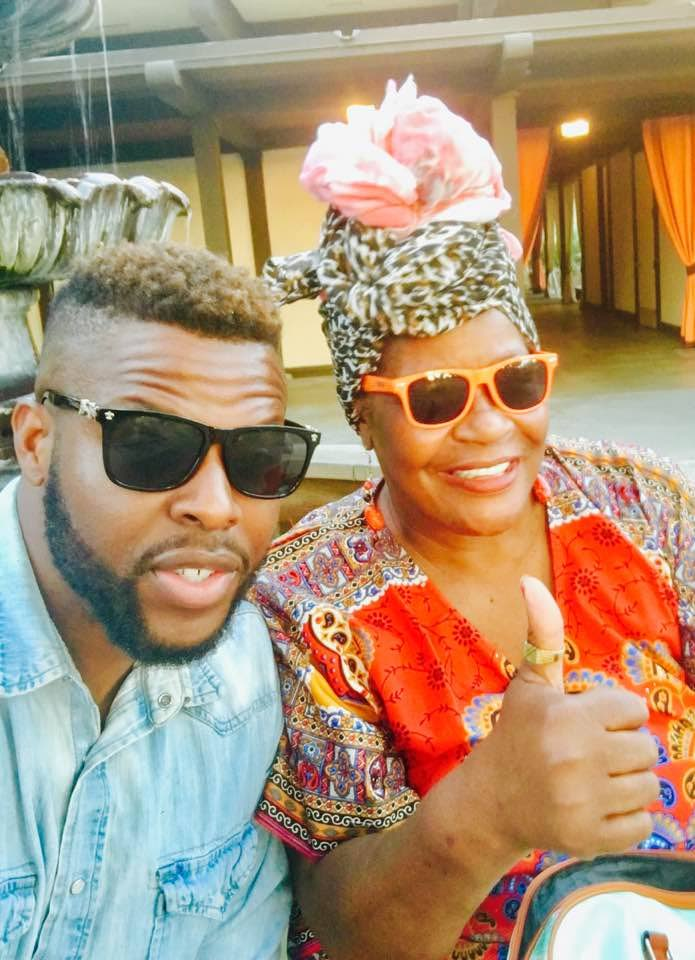 Actor Winston Duke, break-out star of Marvel's blockbuster Black Panther, with his mother Cora Pantin.