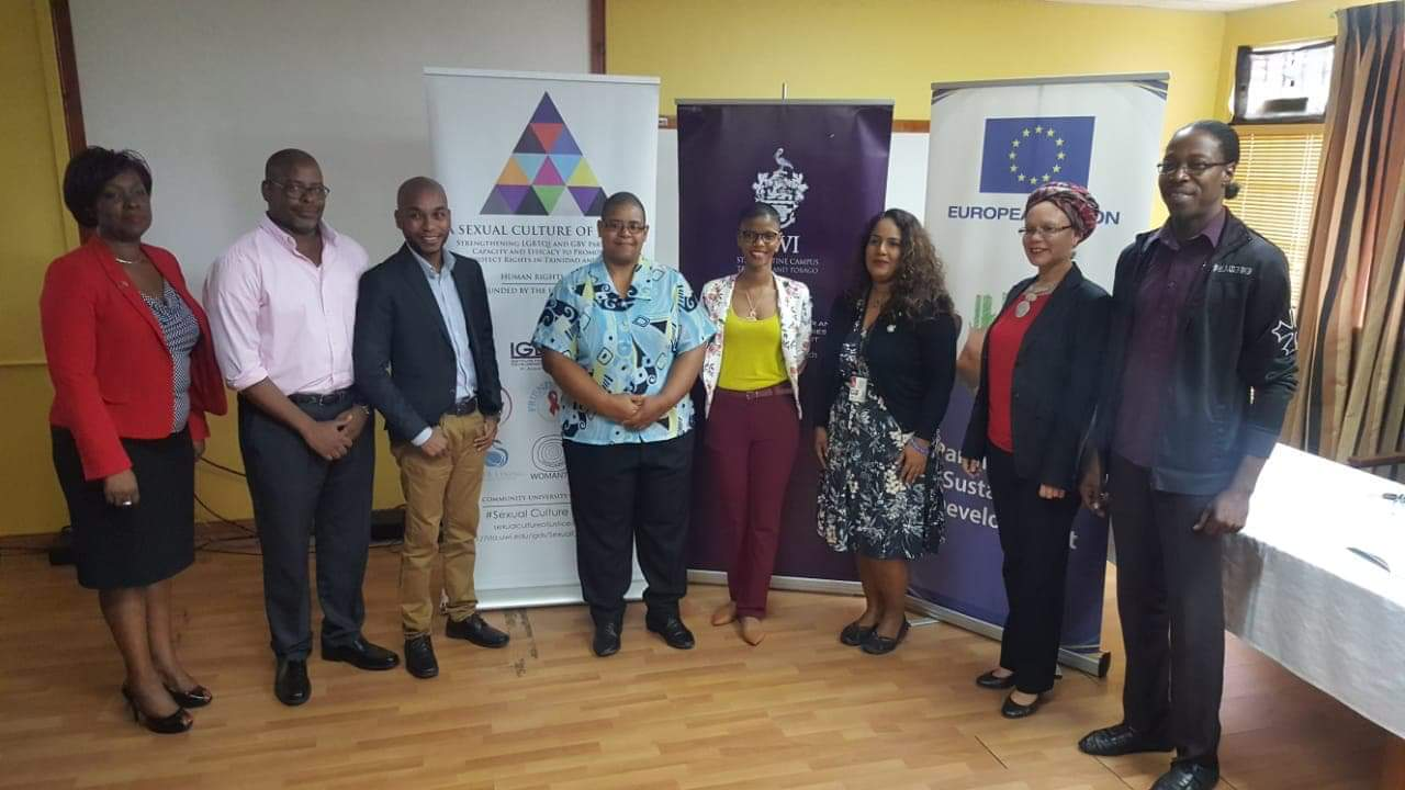 Monica Paul-McLean, project manager - external relations from the delegation of the European Union, Steve Theodore from Amalgamated Workers Union, Luke Sinnette, Friends for Life social worker, Ray Alibey, community researcher, Élysse Marcellin, director of MindWise Project, psychologist Dr Katija Khan, Dr Angelique Nixon, project lead researcher and Kinno Jarvis Pleasantville Secondary School teacher. Photo courtesy Renuka Anandjit