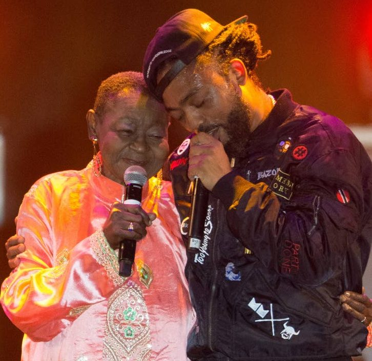 In this February 20, 2017 file photo, Calyspo Rose and Machel Montano  perform at Machel Monday, Hasely Crawford  Stadium
