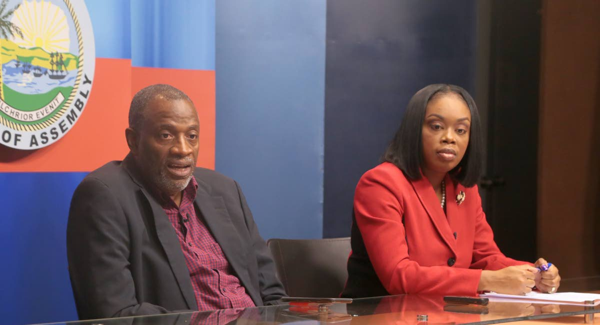 Chairman of the Tobago Festivals Commisson George Leacock, left, and Tourism Secretary Nadine Stewart-Phillips at a previous post Executive Council media briefing at the Administrative Complex in Calder Hall.