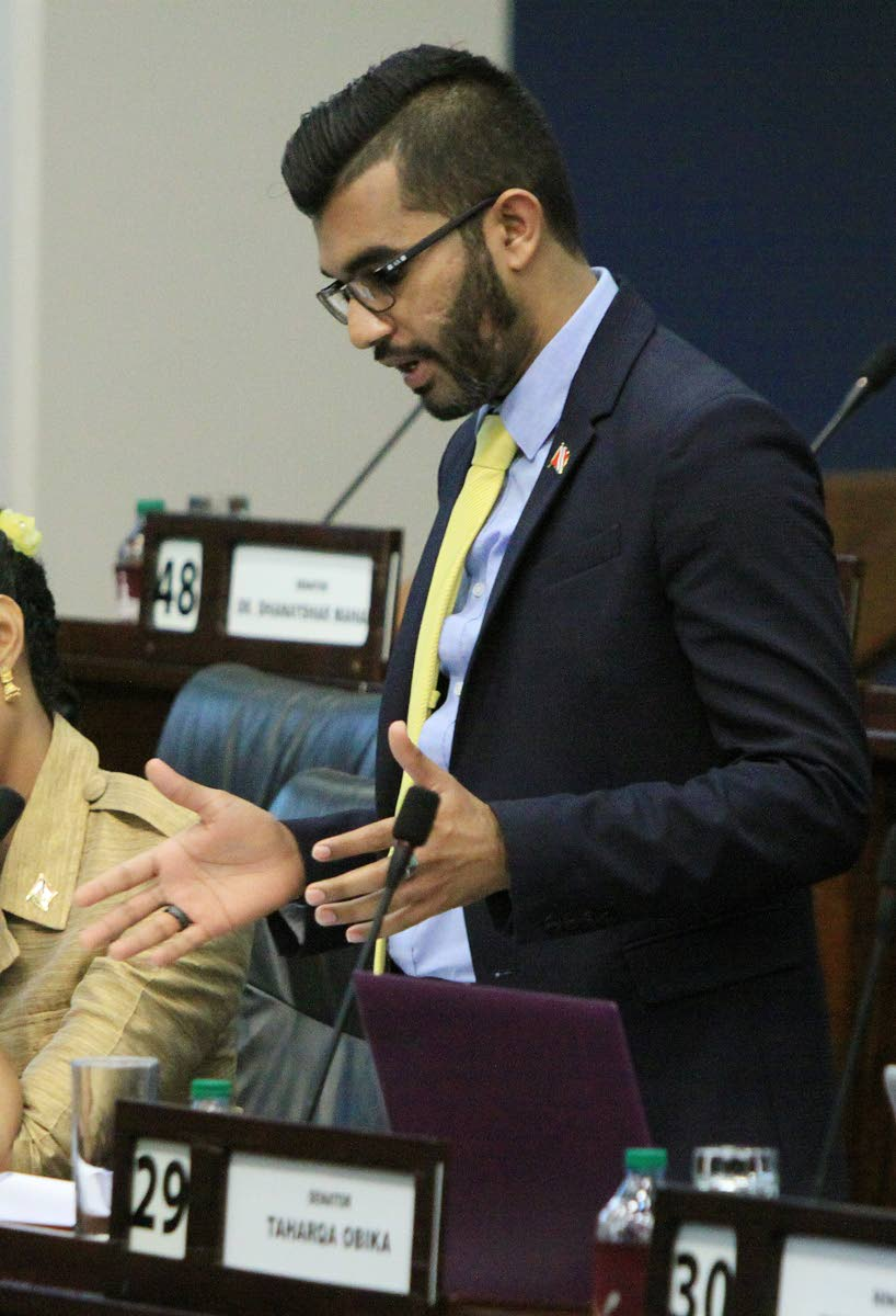 Opposition Senator Saddam Hosein during a debate in the Senate. Fake emails in his name have been sent out which the UNC plans to send to the police. FILE PHOTO