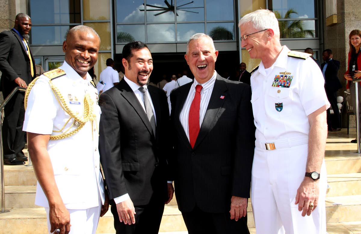 In this December 5, 2018 file photo US Ambassador Joseph Mondello, second from right,  Commander for US Southern Command, Admiral Craig S Fuller, National Security Minister Stuart Young, second from left, and Rear Admiral Hayden Pritchard of the Defence Force at the Caribbean Nations Security Conference, Hyatt, Port of Spain.