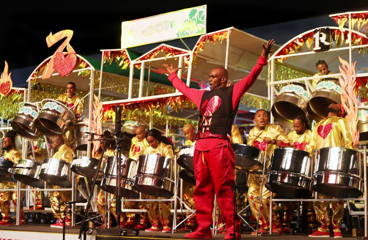Arranger Duvone Stewart leads BPTT Renegades to victory in the 2018 Panorama finals with the performance of Year to Love at Queen's Park Savannah, Port of Spain. FILE PHOTO