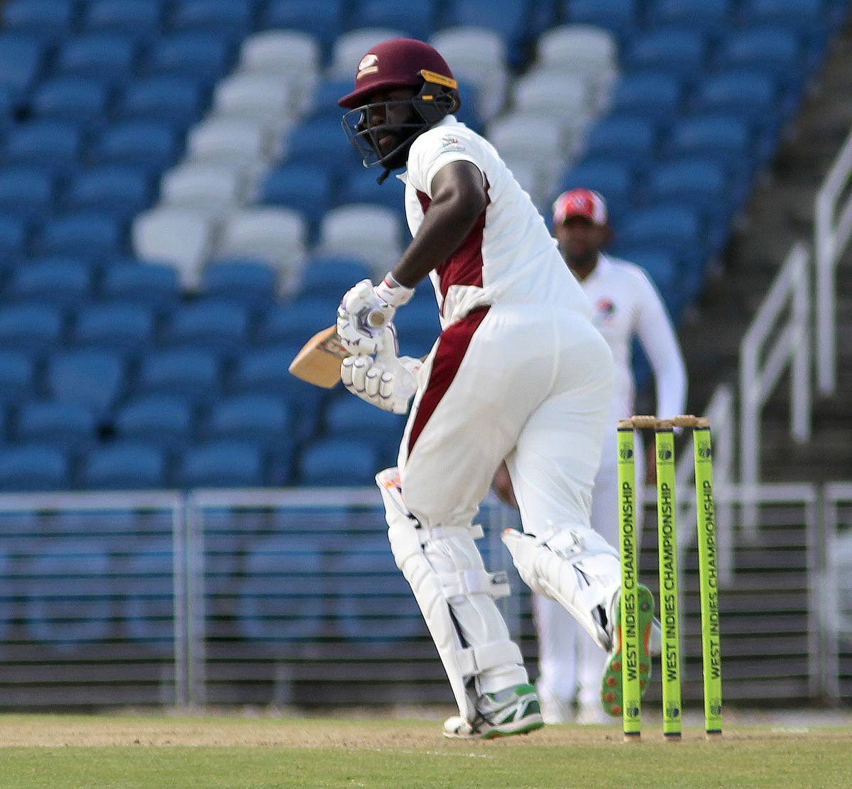 Leeward Islands' Montcin Hodge plays a shot against TT on day one of their four-day match at the Brian Lara Academy, Tarouba, last Friday. PHOTO BY LINCOLN HOLDER