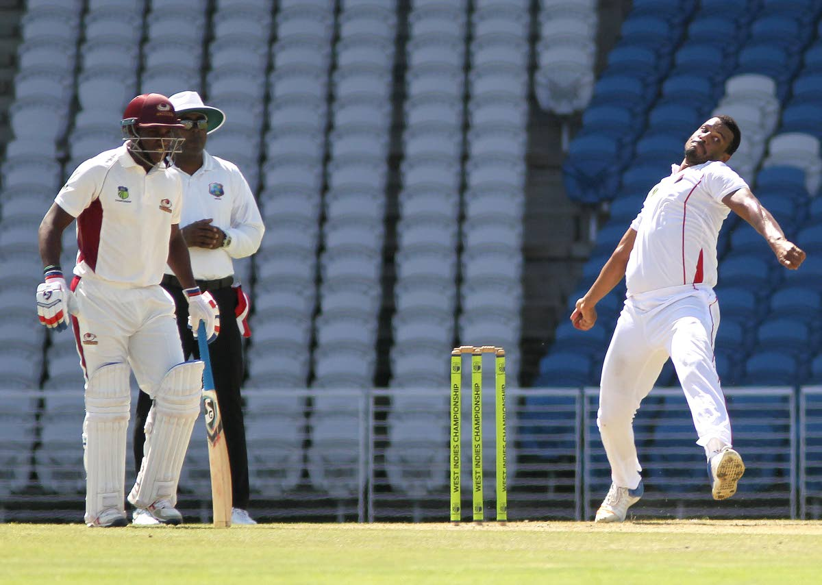 TT Red Force fast bowler Shannon Gabriel bowls against the Leeward Islands Hurricanes at the Brian Lara Cricket Academy in Tarouba in the West Indies Four-Day Championships, yesterday. Gabriel took 3/41.