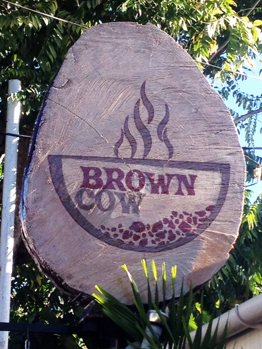 The sign announces the Brown Cow restaurant in Crown Point