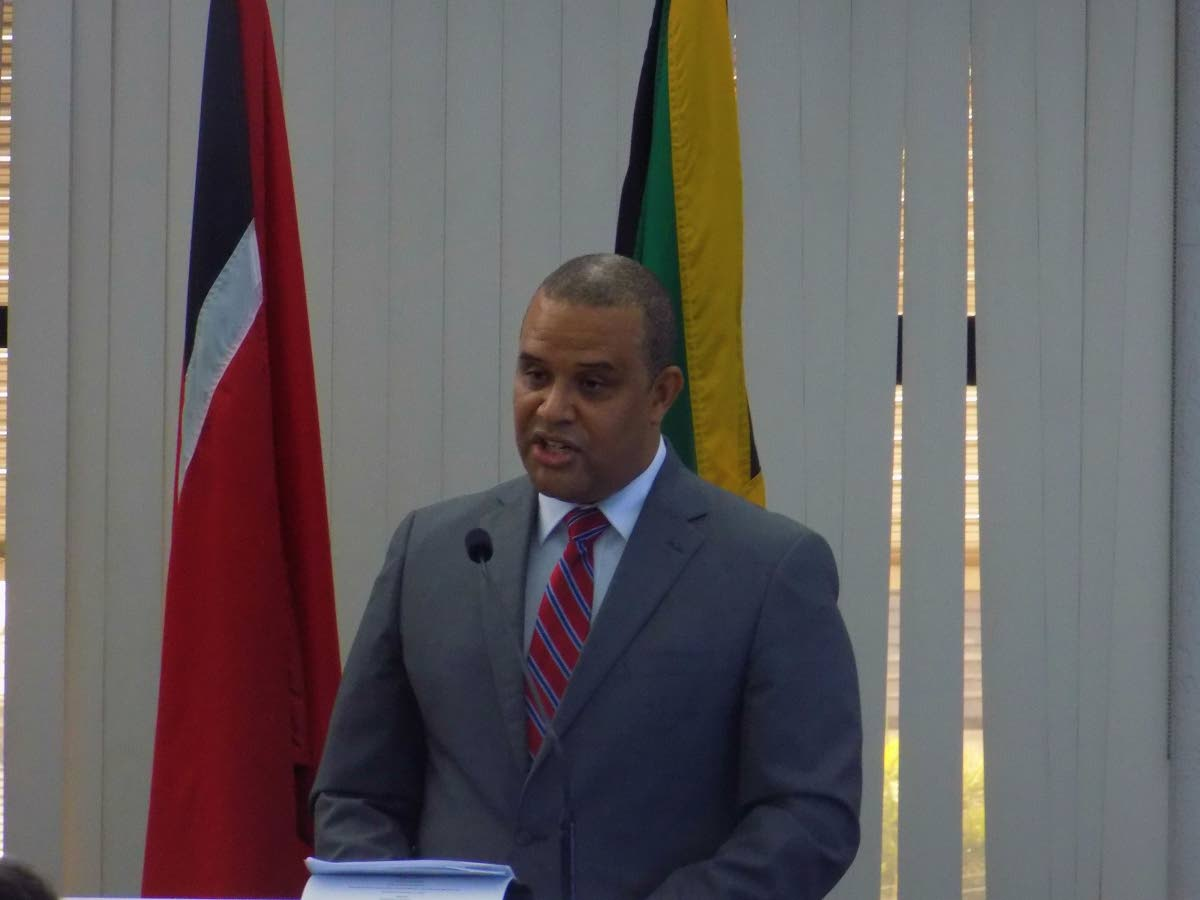 Jamaican high commissioner to TT David Pendergast delivers his address at the TT Chamber of Commerce on new trade and investment opportunities.