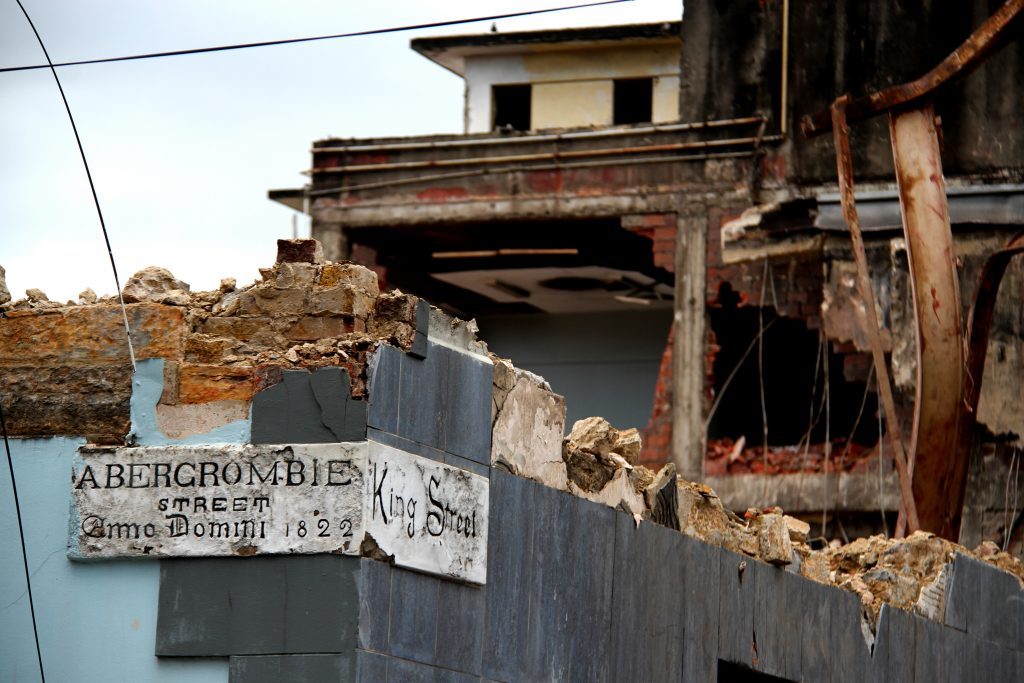 Old heritage street sign on Ansa Mc Al building  that is being demolish. PHOTO SUREASH CHOLAI