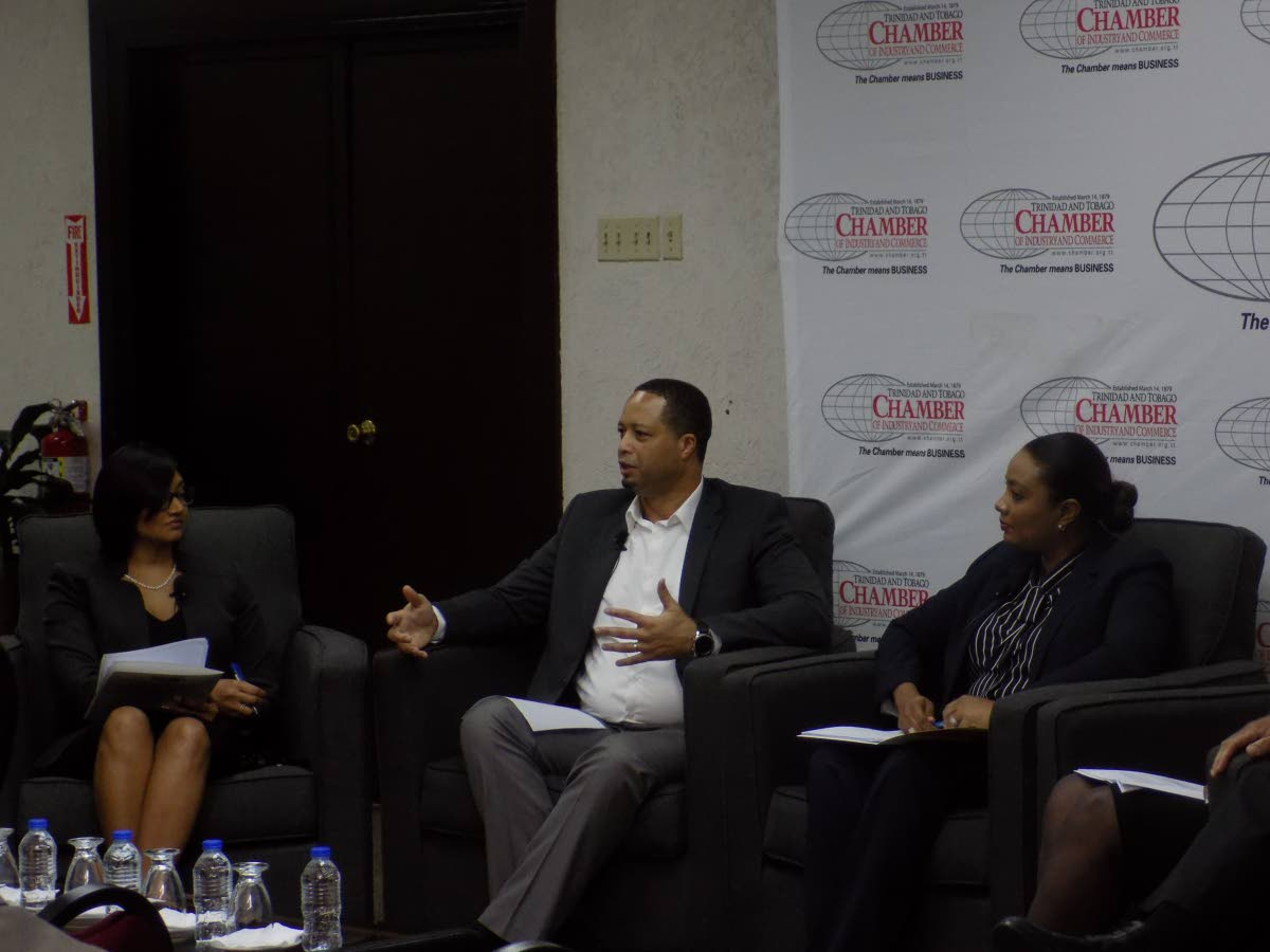 Manager of the Trade and Business Development Unit of the TT Chamber of Industry and Commerce Rianna Paul, left, CEO of the Guyana Office for Investment Owen Verwey, and Legal Services Leader of PricewaterhouseCoopers Angelique Bart participate in a panel discussion at the chamber's Westmoorings building yesterday