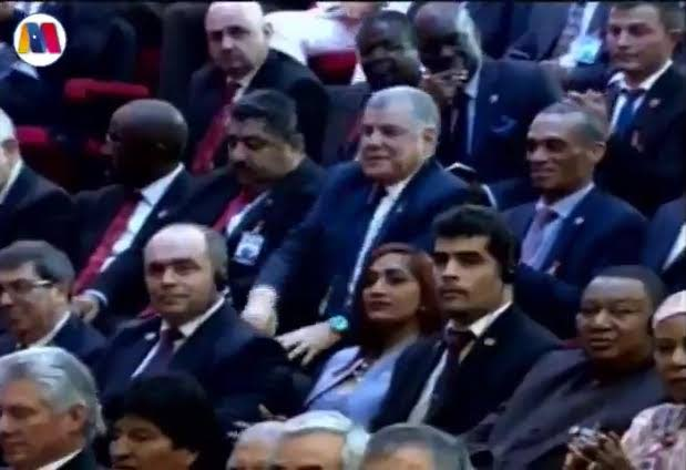 Foreign and Caricom Minister Dennis Moses, top right,  in the audience at Venezuelan President Nicolas Maduro's inauguration in Caracas. (Still from livestream on Maduro's offical Twitter)