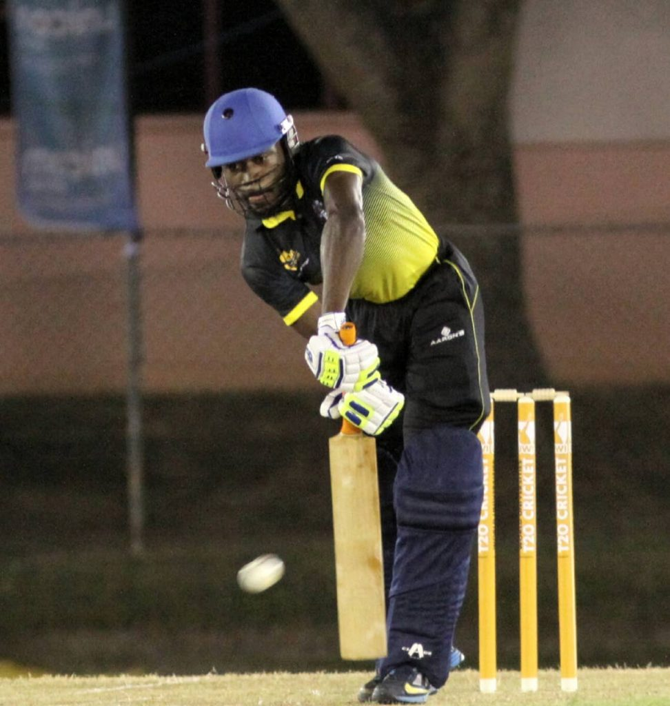 A UWI batsman plays a solid defensive shot against Tertiary Sports Association of TT in the UWI World Universities T20 Tournament on Thursday. PHOTO BY ANGELO MARCELLE
