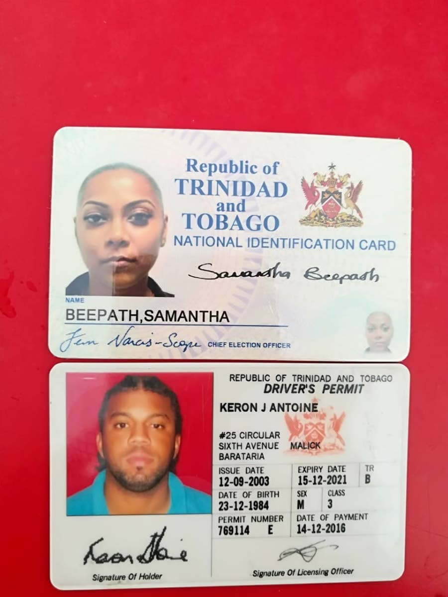 The IDs of Samantha Beepath and Keron Antoine who died when their car crashed into the Guyamare River in Caroni