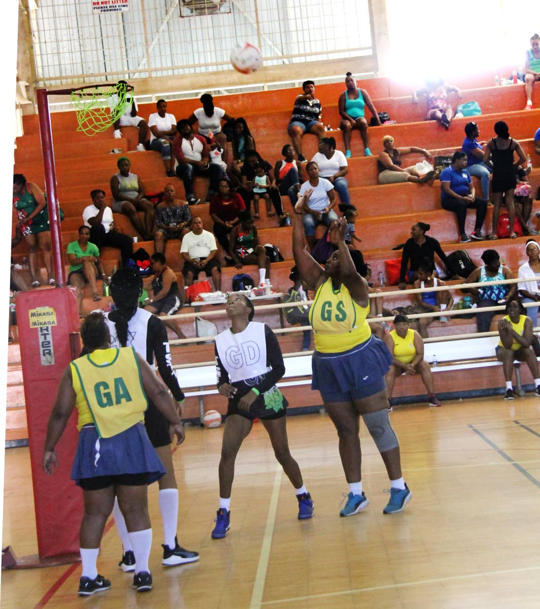 Defence Force's Mellisa Snaggs (GS) shoot to score during a Courts All Sectors Netball League Championship Division match, on Saturda.