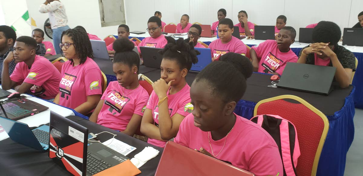Female students at the the Programming and Animation workshop, Youth Tech 2019, at the Cove Eco-Industrial and Business Park on January 4.