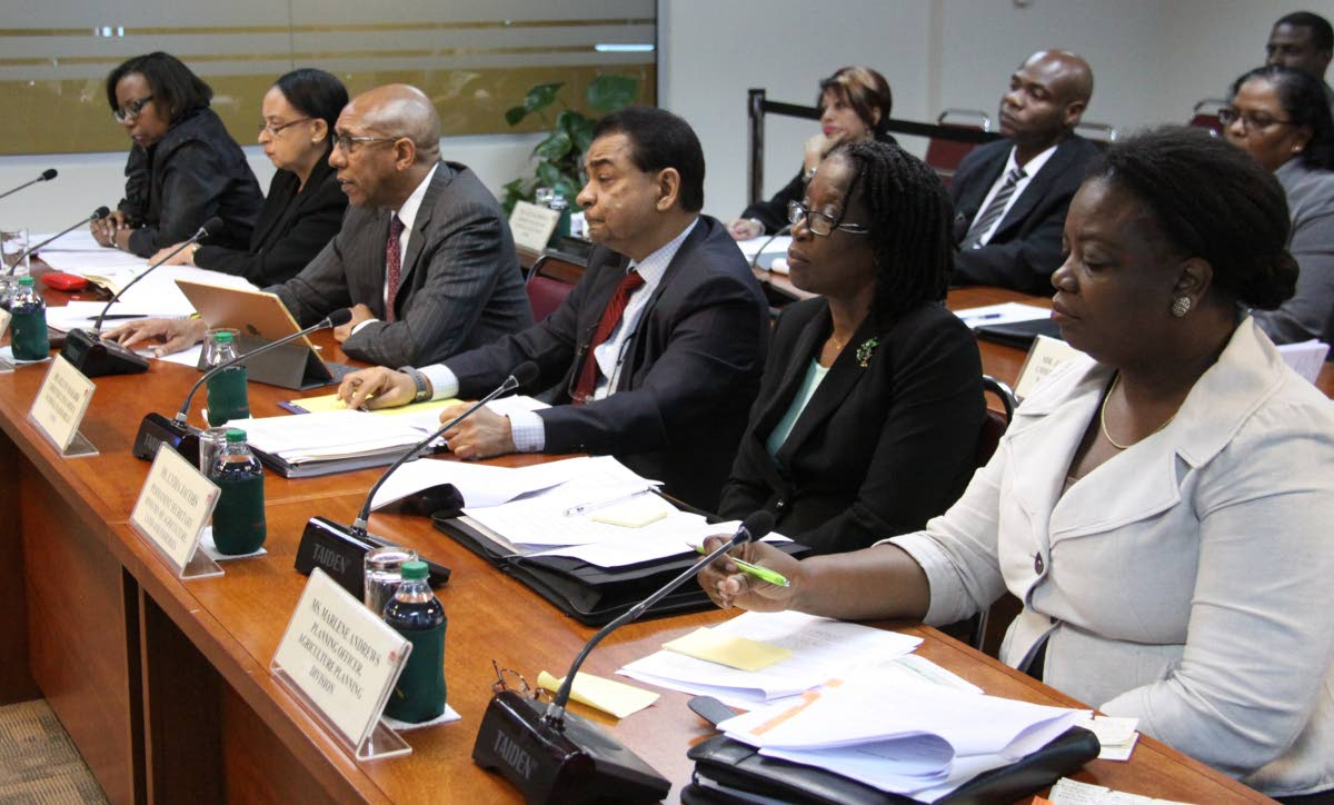 Acting perm sec Michelle Durham-Kissoon, AG. PS Ministry of Trade and Industry, Frances Seignoret Frances, NFM chairman Nigel Romaro, NFM CEO Kelvin Mahabir, PS Ministry of Agriculture, Land & Fisheries and Agriculture Planning Decision, Planning Officer, Marlene Andrews, at The Committee on State Enterprises, J. Hamilton Maurice Room, International Waterfront.  PHOTO:ANGELO M. MARCELLE 14-01-2019