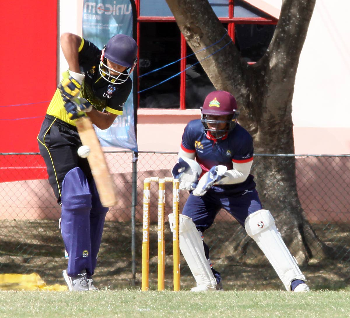 UWI's Sachin Seecharan plays a shot off his legs against Combined Campuses and Colleges in a UWI World Universities T20 match yesterday. PHOTO BY ANGELO MARCELLE
