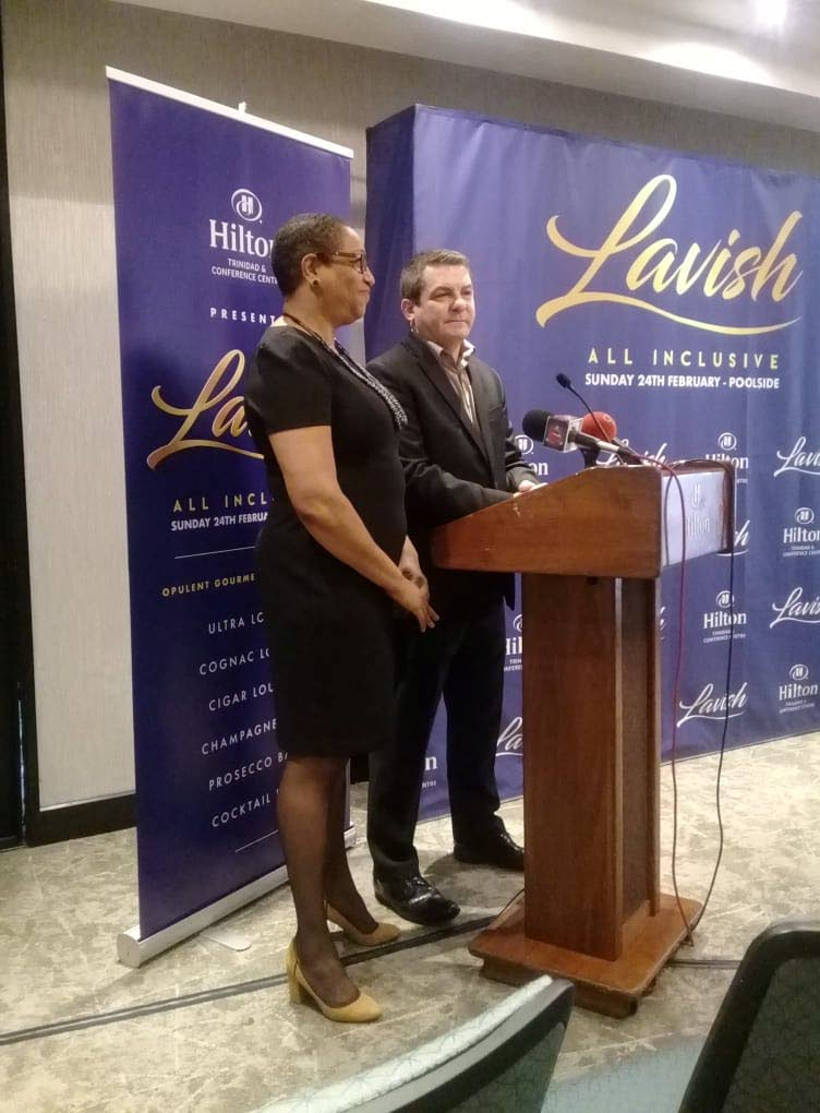 Darlene McDonald, left, Hilton Trinidad's director of sales and marketing with general manager Oliver Maumaire, right, address the media at the launch of its 2019 all-inclusive fete, Lavish at the hotel, Lady Young Road , Port of Spain.