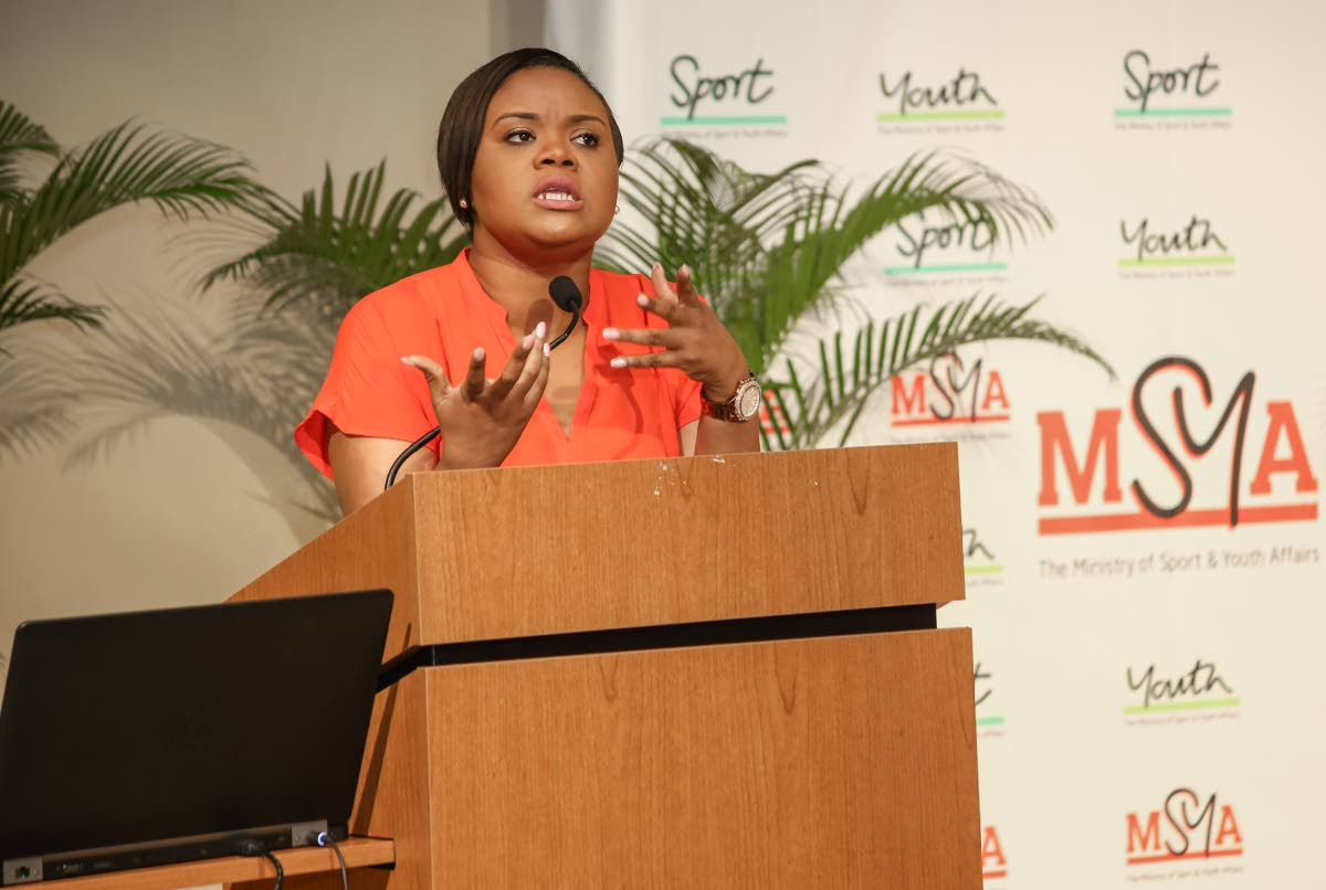Sport and Youth Affairs Minister Shamfa Cudjoe addresses a youth stakeholders meeting at Government Campus Plaza, Richmond Street, Port of Spain yesterday. PHOTO BY JEFF MAYERS