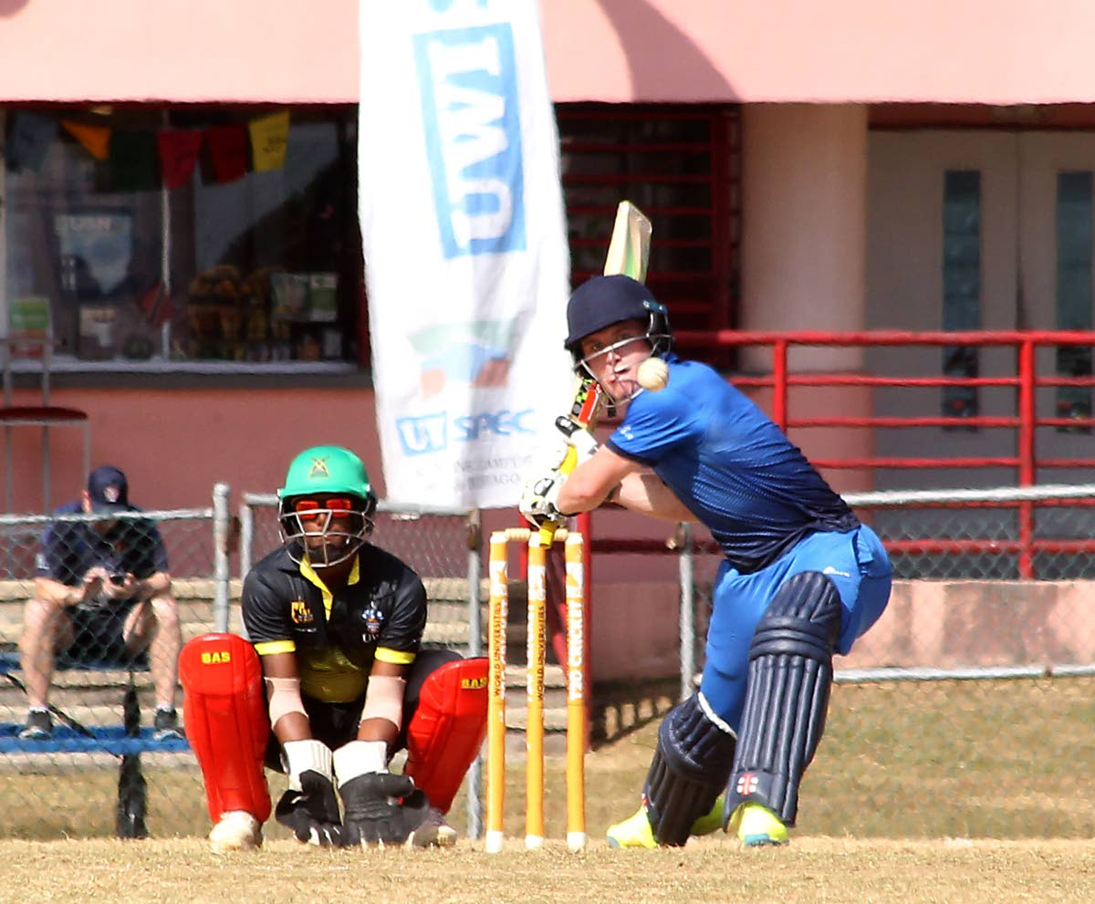Oxford Marylebone Cricket Club University's Henry Adair on the attack against UWI yesterday in the semi-finals of the UWI World Universities T20 Tournament at the Sir Frank Worrell Ground, St Augustine. PHOTO BY ROGER JACOB