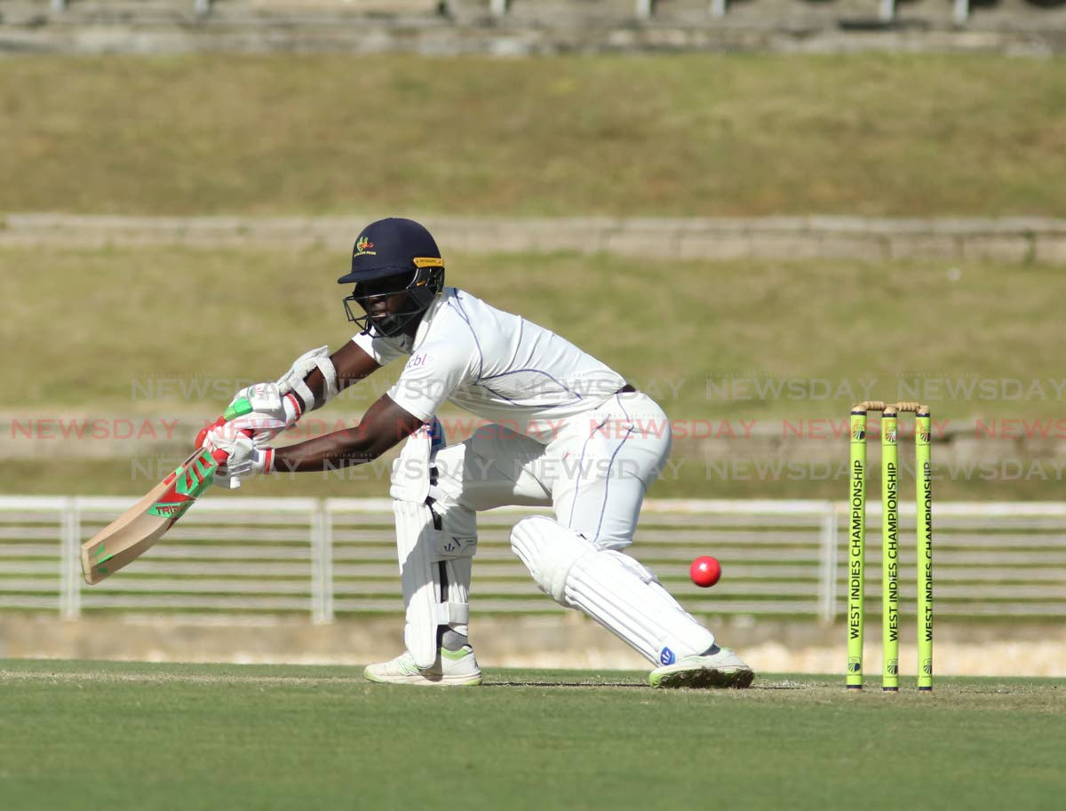 Shayne Moseley of Barbados Pride bats against the TT Red Force as his team chased 59 to win yesterday in their regional four-day match at the Brian Lara Academy, Tarouba. PHOTO BY VASHTI SINGH