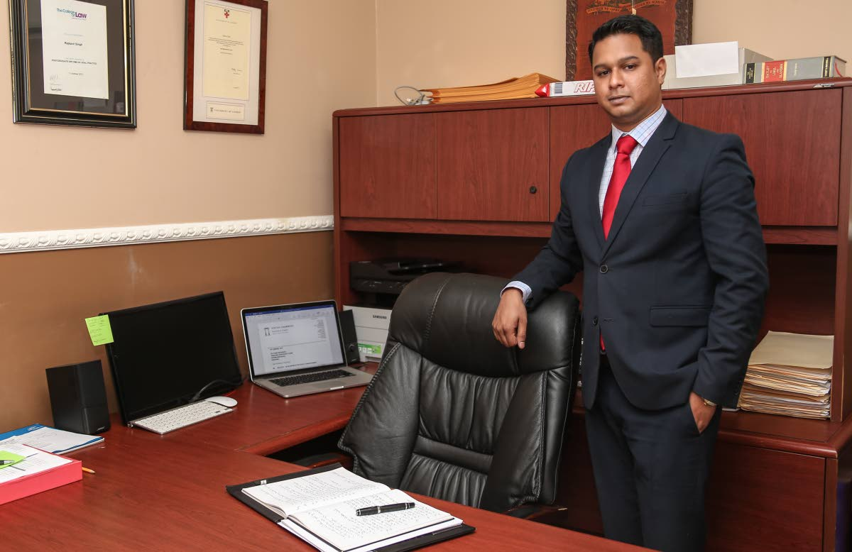 Rajkavir Singh at his law office in Port of Spain. Singh, who is a director of Southex Event Management Co, founded by his father, George Singh, told Business Day that they have put together a succession plan for the continuation of Southex and maintaining the service it's known for. Photo by Jeff Mayers