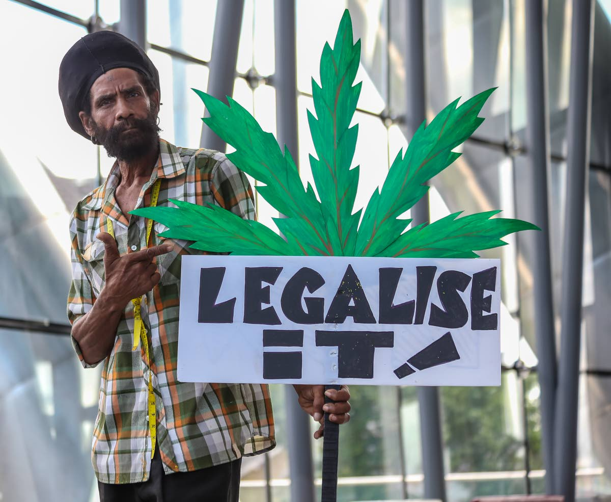 MESSAGE IS CLEAR: Claude Jeffers poses with his sign outside the National Academy  for the Performing Arts after Attorney General Faris Al-Rawi hosted a consultation on  decriminalising marijuana.   PHOTO BY JEFF MAYERS