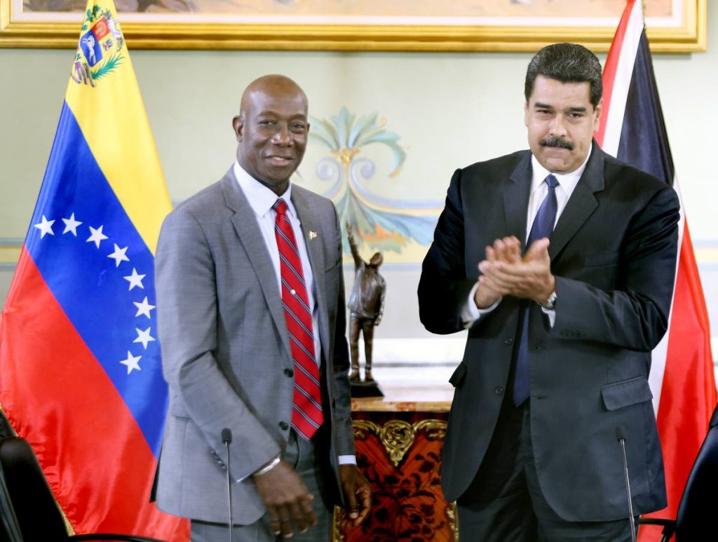 FLASHBACK: Prime Minister Dr Rowley with President Maduro in Caracas back in 2016. FILE PHOTO