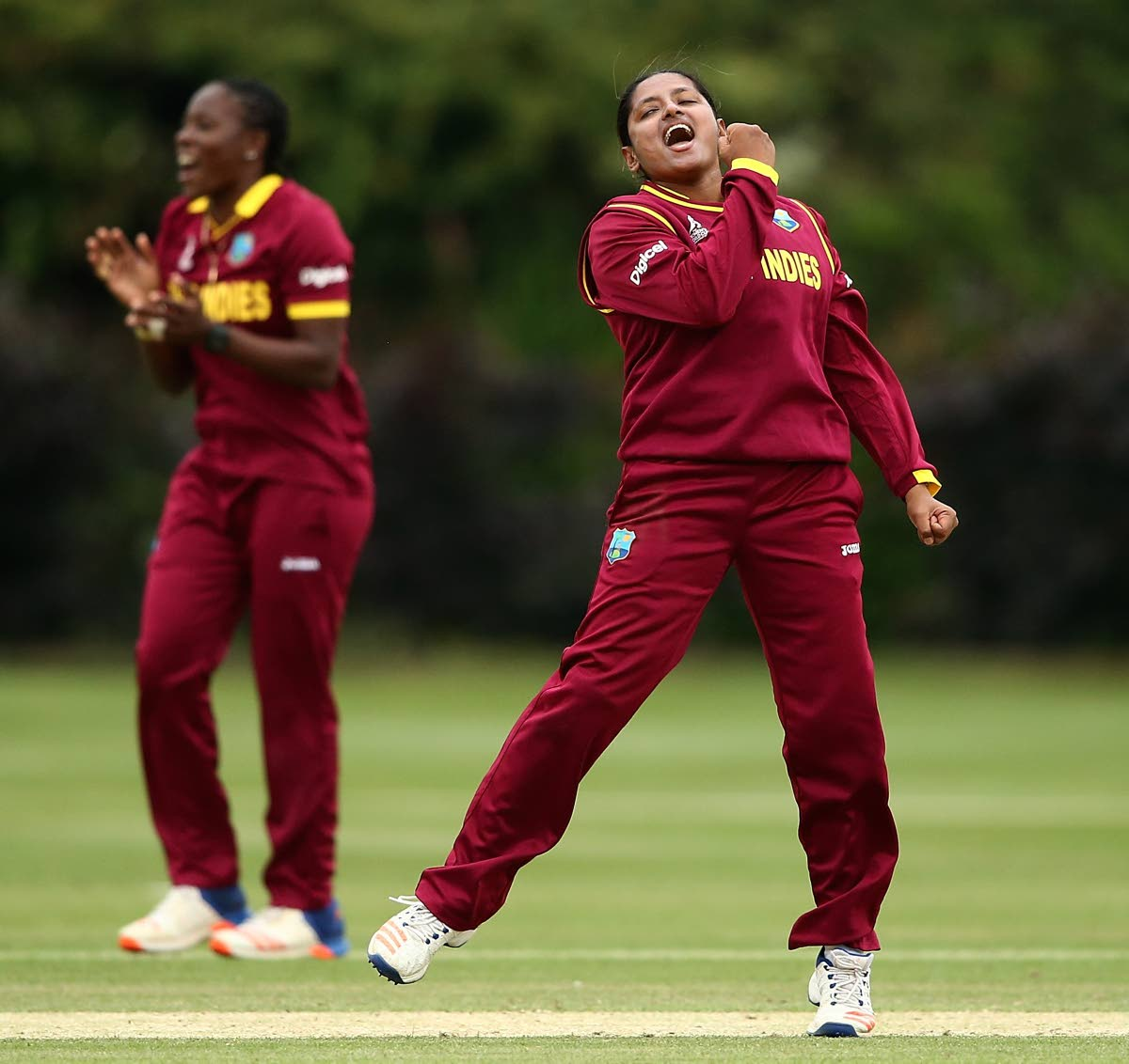 West Indies spinner Anisa Mohammed, right, took two wickets in her 100th T20 International match against Pakistan yesterday.