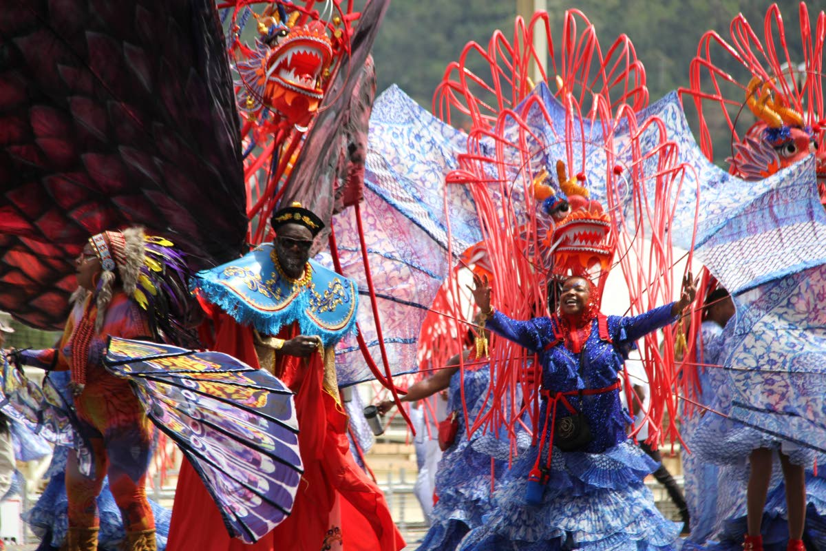 Masqueraders in K2K's Carnival band at the Queen's Park Savannah, Port of Spain on February 13, 2018. Masqueraders may receive part of copyright fees paid to bands when mas images are used for commercial use, says the TT Carnival Bands Association. FILE PHOTO/SUREASH CHOLAI