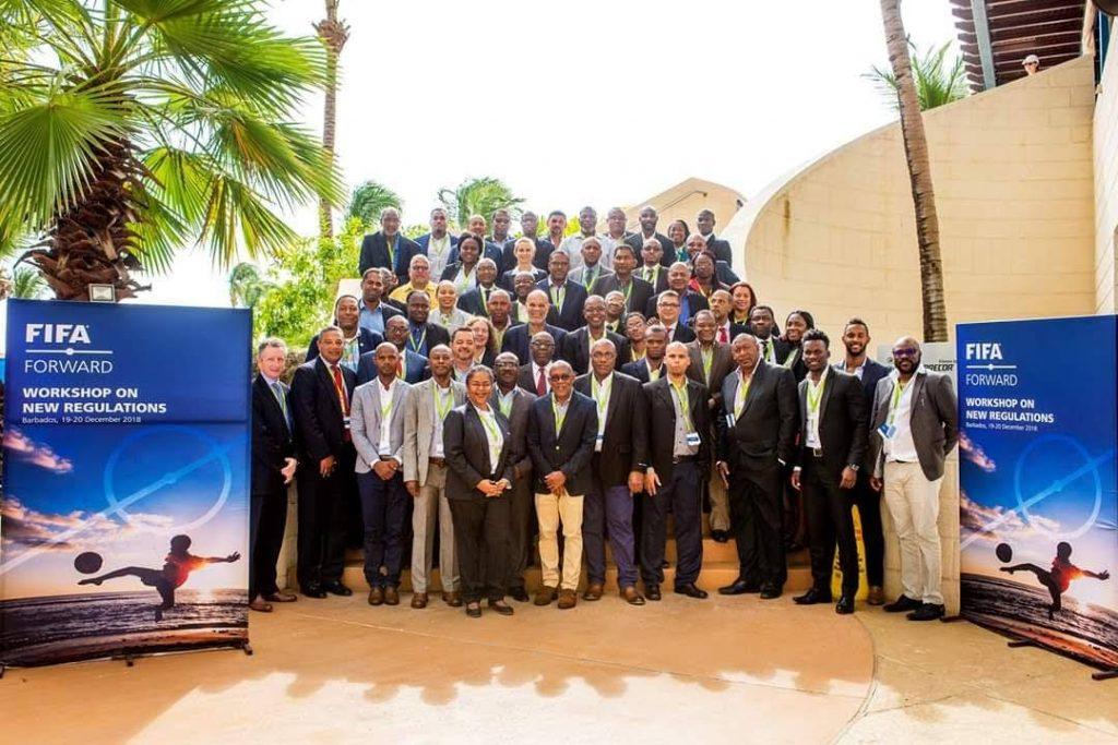 TTFA president David John-Williams, front row, third from right, and Camara David, former TT Super League secretary, front row, second from right, in Barbados for a FIFA Forward seminar in December last year.