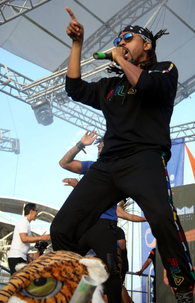 Machel Montano performs at a Carnival fete recently. Photo by ANSEL JEBODH