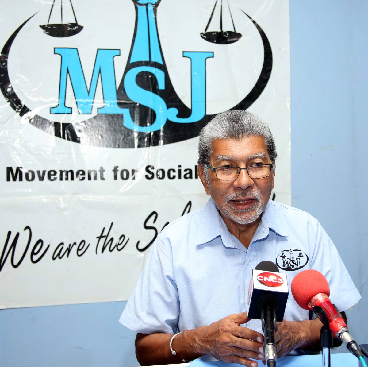 In this January 13, 2019 file photo MSJ leader David Abdulah addresses a media conference at the party's head office in San Fernando. FILE PHOTO