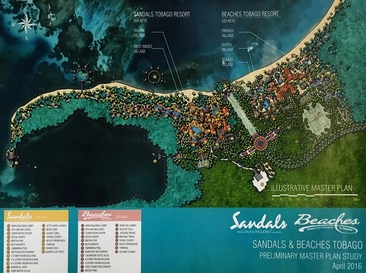 An April 2016 map of the plans for Sandals resorts in Tobago. The resort chain however withdrew from the project because of