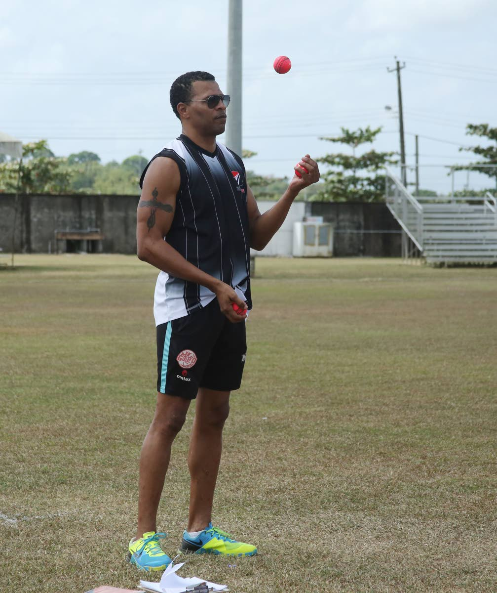 Red Force coach Mervyn Dillon at a training session at the National Cricket Centre, Couva recently.
