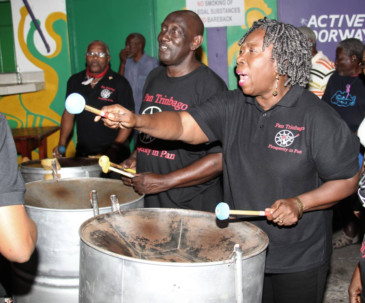 Pan Trinbago president Beverley Ramsey-Moore performs with the organisation's executive steelband at the launch of Panorama 2019 in BP Renegades panyard in Port of Spain on January 19. FILE PHOTO